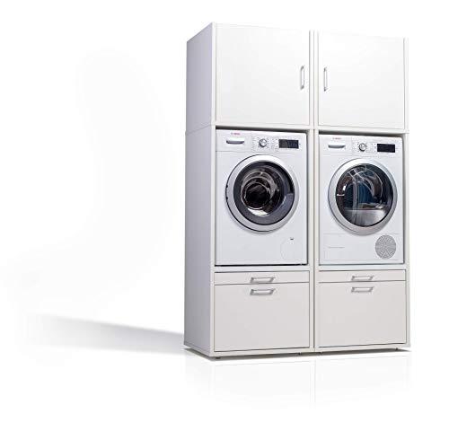 2 x Waschmaschinenschrank - Der Waschturm - Doppelschrank mit Ausziehbrett und Aufsatzschrank - TÜV zertifiziert - Stabil - Höhenverstellbar - 146 cm x 67 cm x 65 cm - Mit Schrankaufsatz 61 cm