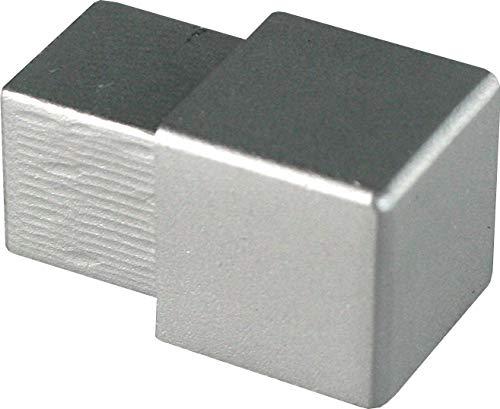 PREMIUM FUCHS Ecke – H: 8mm Quadratprofil Aluminium Eloxiert silber matt – Vollmaterial (kein Abblättern möglich)
