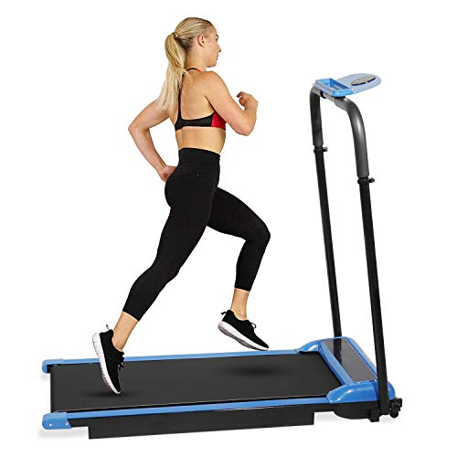 Hooseng Under Desk Treadmill, Electric Folding Treadmill Installation-Free with LED Touch Display with Remote Control and Bluetooth Speaker for Workout Indoor Exercise Machine, Blue