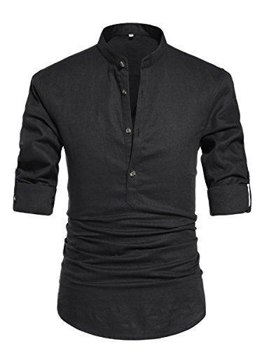 NITAGUT Men Henley Neck Long Sleeve Daily Look Linen Shirts Casual Beach T Shirts Black-US L