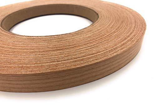 Naturaleza madera chapa borde bandas - Tiras enrolladas pre-pegadas - Plancha con adhesivo Hot Melt, Cinta de madera flexible enarenada a la perfección - Made in USA - Cherry 7.5m x 50mm