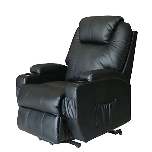 Extreme Comfort Deluxe Power Lift Heated Vibrating Massage Recliner Chair with Wheels/Control (Black) Great for Elder Folks