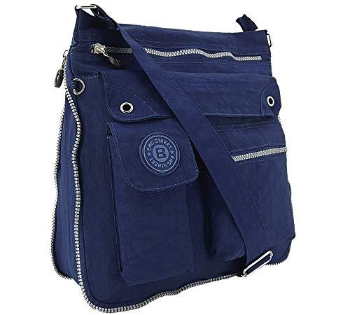 ekavale - leichte Damen-Umhängetasche - Praktische Crossbody-Handtasche - mit vielen fächern - Schultertasche wasserabweisende Damentasche (Marineblau)