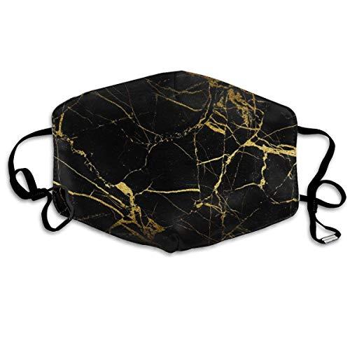 Facial Protection,Chic Black Gold Marmor Half Face Cover, Weicher, Haltbarer Mundschutz Für Erwachsene, Die Im Freien Rad Fahren,18x11cm