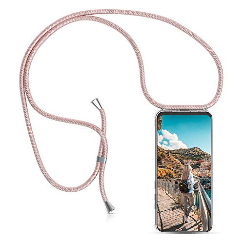 XCYYOO Carcasa de movil con Cuerda para Colgar Huawei P10 Plus【Versión Popular 2019】 Funda para iPhone/Samsung/Huawei con Correa Colgante para Llevar en el Cuello -Hecho a Mano en Berlin[Oro Rosa]