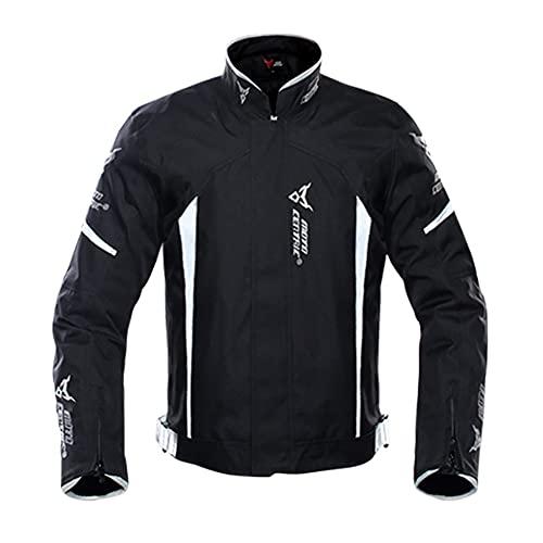 Cuatro Estaciones Hombre Chaqueta De Moto con Protección, Textil Impermeable, Reflexión De Alto Brillo,Gris,L