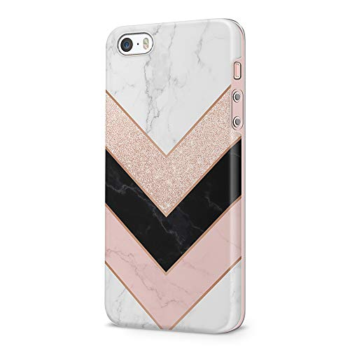uCOLOR Triangle Rose Gold Sparkle Black White Marble Case Compatible with iPhone 5S/5/SE 1st(2016) Cute Protective Case Slim Soft TPU Silicon Shockproof Cover