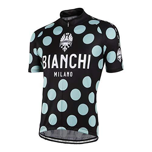 BIANCHI-Milano Pride Short Sleeve Cycling Jersey, Black/Celeste Polka Dot (Large)