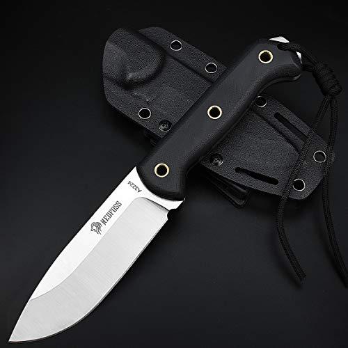 NedFoss Outdoor- Messer mit Kydex Holster, Jagdmesser 10,4cm Klingenlänge| Survival-Messer in Fulltang-Konstruktion, überlebensmesser mit rutschfestem G10 Griff, Schwarz