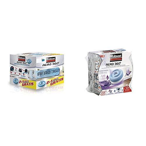 Rubson AERO 360º Set de tabletas de recambio de olor neutro, absorbe humedad y neutraliza malos olores + 2093429 Recambio deshumidificador, Morado, 450 g