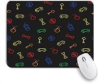 ECOMAOMI 可愛いマウスパッド 古い学校のゲームに触発されたパターンゲームアイコンの成果90年代の背景 滑り止めゴムバッキングマウスパッドノートブックコンピュータマウスマット