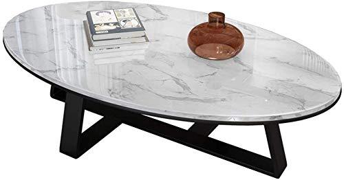 COUYY Mesa de café Ovalada de mármol para Sala de Estar, mármol Macizo Blanco, Marco de Hierro Forjado Negro de Metal Negro,100 x 60 x 45cm