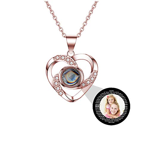 Customized Projection Necklace Personalized Heart Necklace Photo Necklace 100 Languages Love Necklace Promise Necklace Pendant Mother's Day Personalized Gift for Mother(Rose Gold Full Color 18)