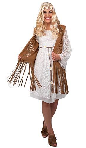 shoperama Damen Fransen-Weste in Wildleder-Optik für Cowgirl Hippie Indianerin 60er 70er Jahre