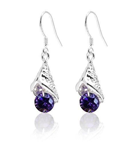 2LIVEfor Elegante oorbellen druppels blauwe oorbellen zilver met kristal paars blauw oorbellen verzilverd hangend elegant versierd kegelvorm oorbellen bloem glitter