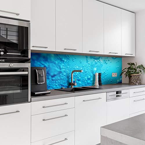 Dedeco Küchenrückwand Motiv: Wasser V2, 3mm Acrylglas Plexiglas als Spritzschutz für die Küchenwand Wandschutz Dekowand wasserfest, 3D-Effekt, alle Untergründe, 240 x 60 cm