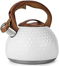Tea Kettle - VONIKI 2.8 Quart Tea Pots for Stove Top Whistling Teapot Stovetop Stainless Steel Tea kettle for Stove Top Loud Whistle Tea Pot With Wood Pattern Handle Tea kettles Water Kettle White