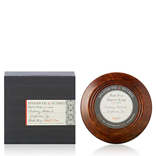 Bath House Español Fig & Nuez moscada Jabón de afeitado en cuenco de madera-100g