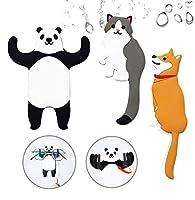 子供用壁フック 粘着性 かわいい動物装飾壁フック 再利用可能な防水フック タオル 鍵 帽子などを掛けるためのフック 浴室 寝室 保育園 キッチン (パンダ+猫+柴犬)