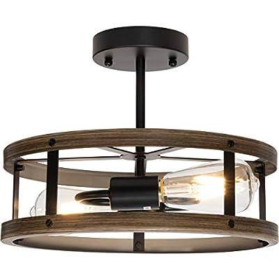 Farmhouse Semi Flush Mount Ceiling Light Fixture, 2-Light Industrial Metal Cage Chandelier, Wood and Matte Black Finish