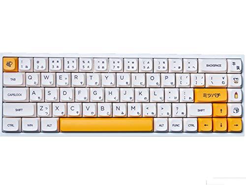 PPCAK 1 Set Honig- & Milchthema Schlüsselkappen für MX Switch Mechanicak Tastatur PBT Farbstoff Subbed Biene Japanische minimalistische weiße Keycaps XDA (Color : Honey and Milk)