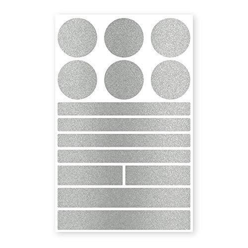 reflecto Stick-On Reflektoren-Aufkleber in edler Metallic-matt Optik – 14-teiliges Set – selbstklebend – für Textilien, Kinderwagen, Ranzen, Helme, Kleidung, Jogging Jacke Rucksack (Silber)