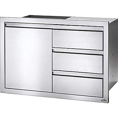 """Napoleon BI-3624-1D3DR 36"""" x 24"""" Single Door & Triple Drawer Combo Outdoor Kitchen Component, Stainless Steel"""