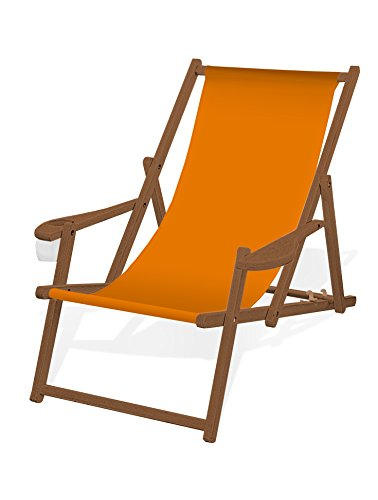 Holz-Liegestuhl mit Armlehne und Getränkehalter, Klappbar, mit dunkelbrauner...