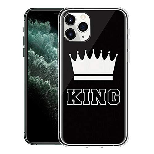 Yoedge Cover Apple iPhone 12 PRO / 12 6,1',Ultra Slim Custodia Silicone con Queen King Corona Personalizzata Antiurto Morbido TPU Bumper Case Protettiva per Apple iPhone 12 PRO 6,1'(King,Nero-Bianco)