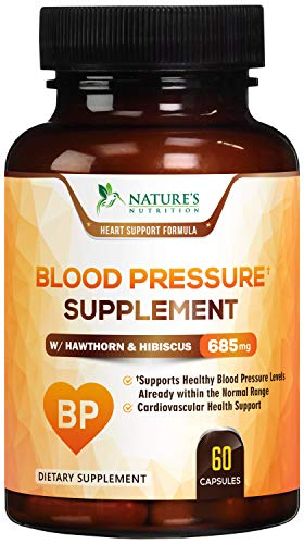 Blood Pressure Supplement Extra Strength Heart Support 685mg - Heart Health Vitamins - Made in USA - Best Natural Blood Pressure Support Pill with Garlic, Hawthorn & Hibiscus - 60 Capsules