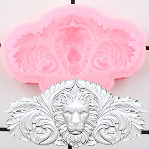 LNOFG 3D Embossed Lion Silicone Mold Cake Border Fudge Mold Cake Decoration Tool Candy Clay Chocolate Mold