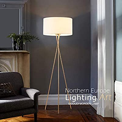 Tripod Floor Lamp, Mid Century Modern Standing Light, E26 Lamp Base, Flaxen Lamp Shade, Wood Floor Contemporary Drum Shade Reading Lamp for Livinfficeg Room, Bedroom, Study Room