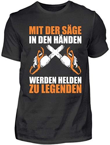 HOLZBRàœDER Holz T-Shirt - Mit der Säge in den Händen Werden Helden zu Legenden - Wald - Kettensäge - Fichten, Schwarz, L