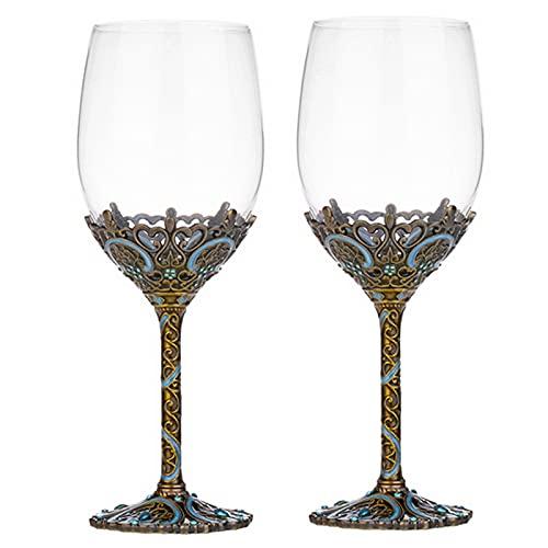 WANGLX Copas de Vino Tinto Cristal Artesanales Esmaltadas Hechas a Mano Copas Vino Tinto Esmaltadas Flores Copa de Cristal Transparente Sin Plomo Juego