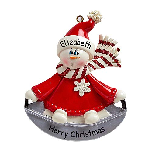 Personalized Snow Saucer Christmas Tree Ornament 2020 - Cute Snowman Kid Toboggan Fun Sled Slippery Racer Downhill Slide Favorite Sledding Tubing Winter Activity Tradition Gift - Free Customization
