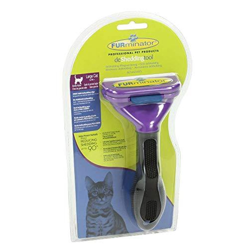 """FURminator deShedding Fellbürste für Katzen -€"""" Katzenpflegebürste in Größe L für kurzhaarige Katzen zur effektiven Entfernung von Unterwolle und Vorbeugung von Haarballen"""
