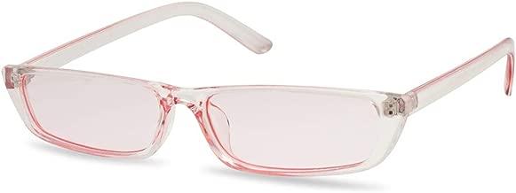 SunglassUP 90's Vibe Super Slim Rectangular Candy Colored Transparent Frame Sunglasses