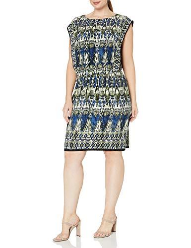 London Times Women's Petite Matte Jersey Blousson Flange Sleeve Dress, Blue/Multi, 4P