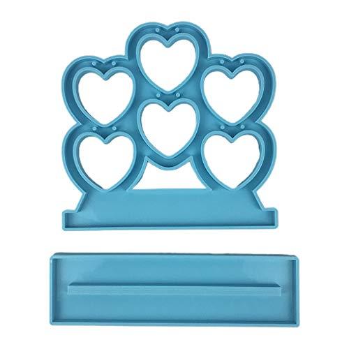 Yunnan Mostrar pendientes moldes en forma de corazón de resina epoxi Mostrar joyas Rack Molde de silicona para hacer joyas DIY manualidades decoraciones caseras