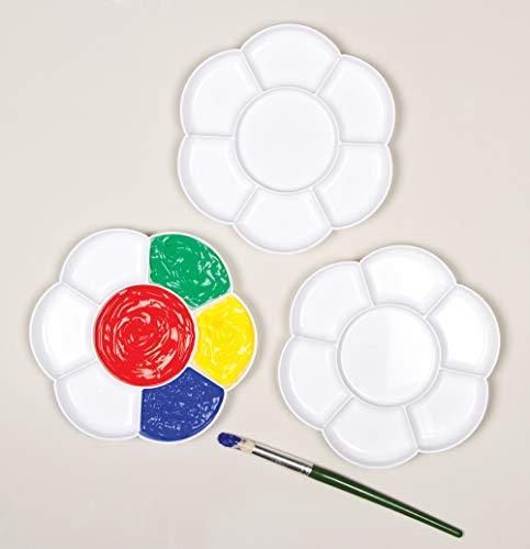 Baker Ross Farbpaletten in Blumenform mit 7 Farbnäpfen zum Malen und für Bastelarbeiten (3 Stück)