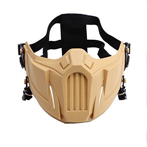 Wwman taktisches halbe Gesichtsschutz Schädel Maske Mesh Maske für Softair Paintball CS Colpay Halloween (TAN)