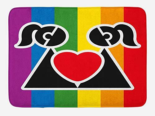 Alfombrilla de baño de San Valentín, Love Wins Queer Gay Pareja Sosteniendo un Corazón Novia Romántico Feliz Gráfico, 40 x 60 cm, Colores Arco Iris