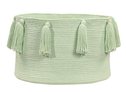 Lorena Canals - Cesta Tassels Soft Mint / Cesta Tassels Menta Claro - Menta suave - 97 % algodón 3 % otras fibras - Ø45x30cm