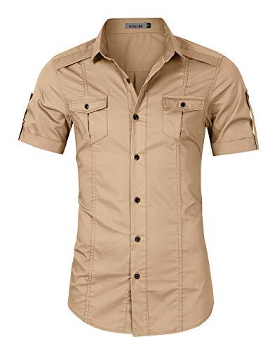 KUULEE Men's Casual Slim Fit Cargo Shirt Long Sleeve Work Shirt Dress Shirt Tactical Shirt Outdoors (XXL, Khaki)