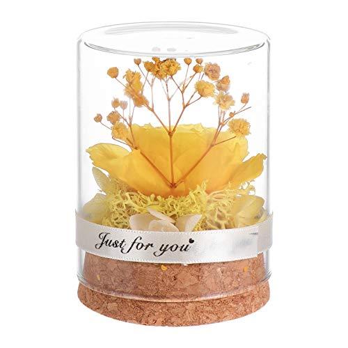 Cabilock flores amarelas para sempre, flores verdadeiras eternas preservadas, arranjo floral para namorada, esposa, mãe, mulheres, dia dos namorados, aniversário, casamento