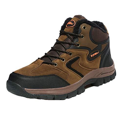 Shaoyao Herren Wanderschuhe Outdoor Sneaker Leichte rutschfeste Trainer Für Trekking Camping Sportschuh Turnschuhe Socken schicken Braun 36 EU