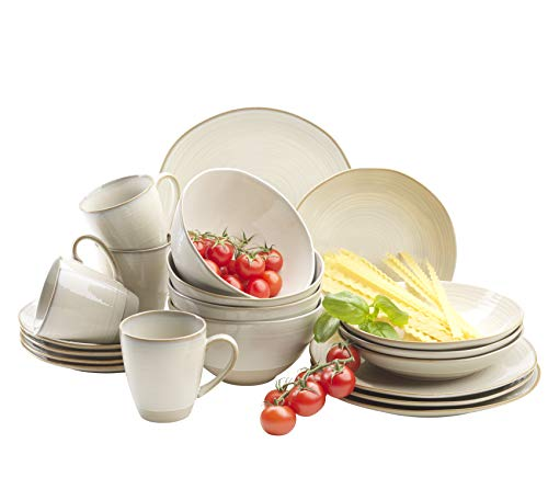 MÄSER 931512 Serie Nottingham Vintage Geschirr-Set für 4 Personen, 20-teiliges Kombi-Service mit organischen Formen im Retro-Look, Beige Steinzeug