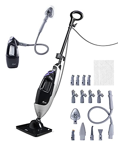 LIGHT 'N' EASY Steam Mop Cleaners 8-in-1 with Detachable Handheld Unit, Floor Steamer for Hardwood/Grout/Tile/Laminate,Multi-Purpose Handheld Steam Cleaner for Indoor Use(7688ANB-2)