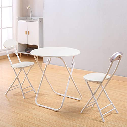 Daily Accessories - Juego de 3 piezas de jardín para mesa de comedor redonda plegable y 2 sillas de metal, estilo simple