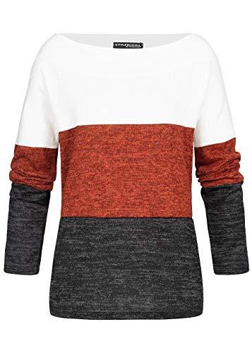 Styleboom Fashion® Damen Pullover Off-Shoulder Colorblock Sweater Weiss Kupfer schwarz, Gr:XXL